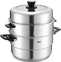 XMDD Steamer, Stainless Steel Steamer, 30CM Double Bottom Stainless Steel Steamer, Can Be Used As A Three-layer Double-lay...