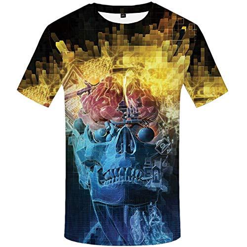 YAMAO Rundhals T- Shirt Homme,Sport, T-Shirt imprimé 3D pour Homme décontracté Pull col Rond lâche