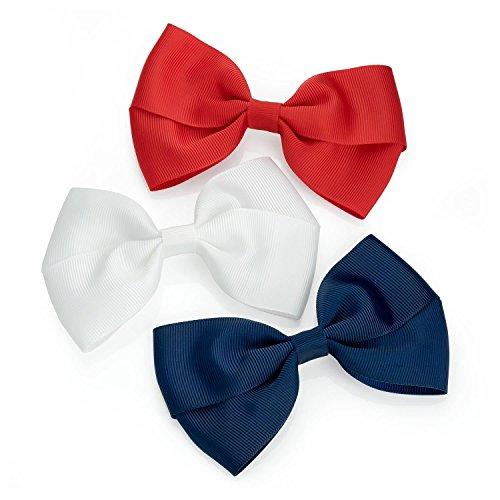 Chocolate Pickle® Nouveau Femmes Trois pièces Plaine Désign Ruban Arc Hair Clip Set Accessoires White,Red,Navy