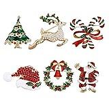MELLIEX 6 Piezas Pin Broches de Navidad Broch de Diamantes de Imitación Decoraciones Navideñas de Cristal para Ropa Adornos Regalo