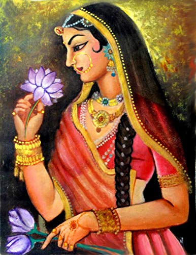Rajasthani Painting Oil on canvas beautiful wall Art by Seema Dasan- 24x36 inch