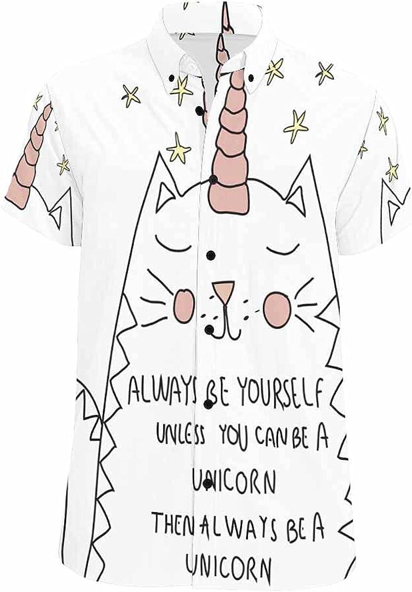 InterestPrint Cute Cat Butterfly Casual Spread Collar Tops Standard Fit Summer Shirt for Men