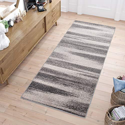 Tapiso Sari Teppich Läufer Meterware Wohnzimmer Schlafzimmer Küche Flur Brücke nach Maß Grau Vintage Kurzflor Verwischt ÖKOTEX 80 x 400 cm