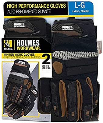 Holmes High Performance Winter Work Gloves, Adjustable Wrist band, 2 pairs (Extra Large XL)