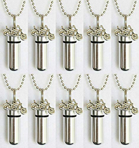 with Velvet Pouch and Fill Kit Silver MOTORCYCLE CREMATION URN KeychainNecklace on 24 Ball Chain  Custom Hand Assembled...