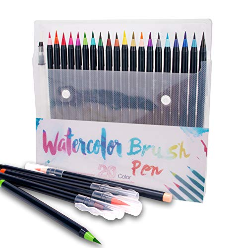 Watercolor Brush Pen with Flexible Real Brush Tips - 20 Colorful Soft Painting Pen- Nontoxic Watercolor Markers Water Based Ink Pen Set, Brush Pens for Kids Adult Artists Beginner Painters