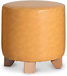 footstools ottomans Solid Wood Pouffe Footstool ottoman,round Padded Shoe Bench stool Pouf Dressing stool Seat stool Small...