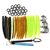 HILLPOW Wacky Worm Kits, Wacky Rig Tool (Blue), Wacky Hooks, 5.2' Senko Soft Baits (in 3 Color), Wacky Rig O-Rings (Kit5)