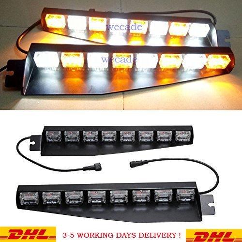 Yellow//White//Yellow Anzene 9 LED 9W 12V Windshield Warning Light Dashboard Interior Car Truck Emergency Strobe Flash Light