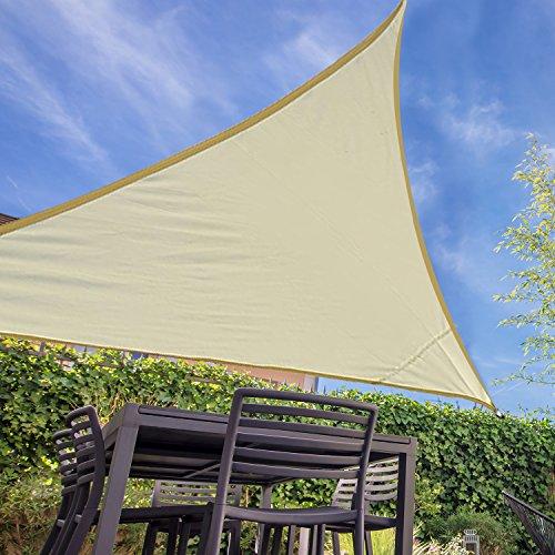 HOMCOM Outsunny Toldo Vela Color Crema sombrilla Parasol triangulo Tela de Poliéster Jardin Playa Camping Sombra Medidas, Medida 6x6x6 Metros, Color Crema