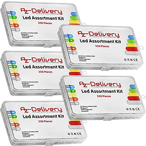 AZDelivery 5 x Kit Diodos LED Emisores de Luz, 350 piezas, 3 mm & 5mm, 5 Colores, Set de Diodos LED Emisores Redondos, UV RGB CC/CA, compatible con Arduino