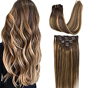GOO GOO Hair Extensions Clip in Human Hair Extensions Remy Hair Ombre Hair Extensions 120g Double Weft