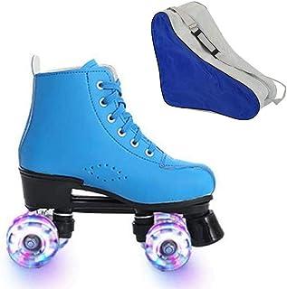 ZZAINIO Women's Roller Skates PU Leather Boys Roller Skates High-top Roller Skates Four-Wheel Roller Skates Shiny Roller Skates with Carry Bag for Girlsskates