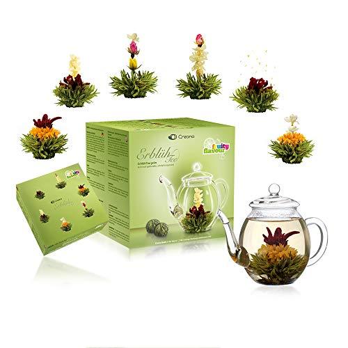Creano Teeblumen Mix - Geschenkset Erblühtee mit Glaskanne Grüner Tee fruchtig aromatisiert (Teerosen in 6 Sorten), Blooming Tea, Tee Geschenk zum Muttertag