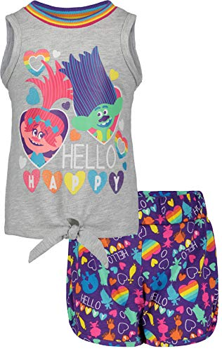 Trolls (842344TRT) Girls' Fashion Tie Front Tank Top and Short Set in Multicolor, 3T