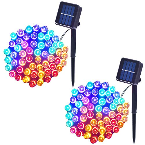 Solar String Lights Waterproof Holiday String Lights, Outdoor/Indoor String Lights, 8-Lighting Modes, Fairy Lights, Holiday Christmas Lights Decoration, 33ft, 100-LED, 2 Pack (Multicolor)