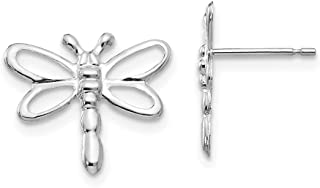 14k White Gold Dragonfly Post Stud Earrings Animal Insect Fine Jewelry Gifts For Women For Her