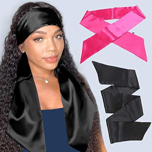 Xtrend 2 Pcs Écharpes Bord Satiné pour Perruques pour Dentelle Avant Perruque Rose&Black Perruques Bande de Poignée pour Perruque Avant de Lacet Antid