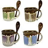 Mug Espresso Cups Set of 4 mugs - Glazed Ceramic 5 Ounce Coffee Mugs w/Espresso Spoons - Hand Crafted Coffee Cups - hot Beverages - Best coffee mug