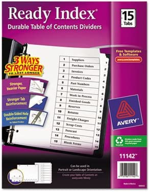 Ready Index Classic Tab Lowest Bargain price challenge Titles Black Whit Letter 1-15 15-Tab