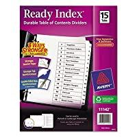 Readyインデックスクラシックタブタイトル、15-tab、1–15、文字、ブラック/ホワイト、15/セット、合計24St , Sold as 1カートン