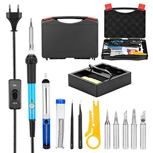 ENJOHOS Kit de soldadura eléctrica de temperatura ajustable 13 en 1 de 200 a 450 ° C, 60 W 220 V, 5 puntas de soldadura, alambre de soldadura, bomba desoldadora, estación de soldadura, esponja, caja