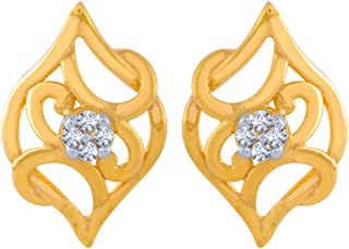 P.C. Chandra Jewellers 14k (585) Yellow Gold and American Diamond Stud Earrings for Women