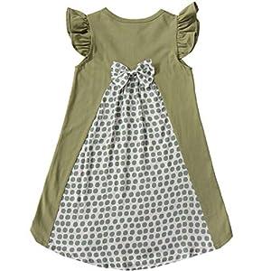 [Bee] 韓国子供服 キッズ 女の子 ワンピース 半袖ワンピース 150cm モスグリーン地×ドットミント