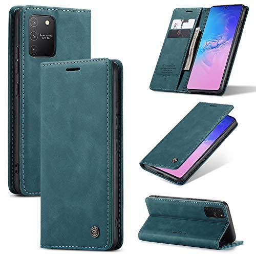 XINYUNEW Hülles Kompatibel mit Samsung Galaxy S10 Lite 2020/A91 Hüllen, Premium Dünne Ledertasche Handyhülle mit Kartenfach Ständer Flip Klapphüllen for Hülles Samsung Galaxy S10 Lite 2020/A91- Bleu