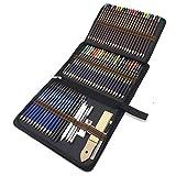 Lapices de Dibujo Profesionales, 72 Piezas Set Lápices de colores y Lápices de Madera, Carbón Grafito Sticks, Herramientas de dibujo - Conjunto Ideal para Artistas, Adultos y Niños