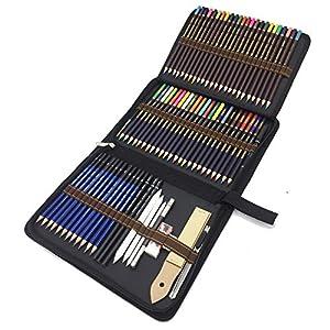 Lapices de Dibujo Profesionales, 72 Piezas Set Lápices de colores y Lápices de Madera, Carbón Grafito Sticks…