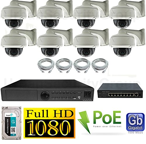 Best Prices! USG HD IP PoE CCTV Kit: 8x 1080P IP PoE 2.8-12mm Dome Cameras + 1x 24 Channel 1080P NVR...