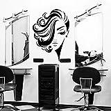 WERWN Adesivi per Parrucchieri da Parete per Capelli Corti Ricci da Donna Creativa Decorazione della Stanza da Parete per Taglio di Capelli