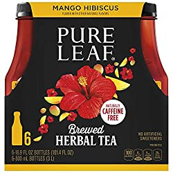 Pure Leaf Herbals Iced Tea, Mango Hibiscus, 16.9 Fl Oz Bottles, Pack of 6