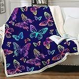 Sleepwish Butterfly Blankets and Throws Sherpa Throw Blanket Super Soft Reversible Ultra Luxurious Fleece Plush Blanket Purple Rainbow Butterflies Design Throw(50'x60')
