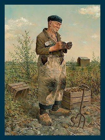 Bild mit Rahmen Marius van Dokkum - Farmer - Holz blau, 30 x 40cm - Premiumqualität - , Portrait, Menschen, Mann, Bauer, Kartoffelernte, Mistgabel, Arbeit, Feldarbeit, Treppenha.. - MADE IN GERMANY - ART-GALERIE-SHOPde