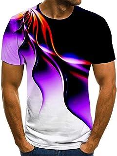 CLJKJDS New Flame Men's T-shirt Summer Fashion Short-sleeve 3D Round Neck Tops Smoke Element Shirt Trendy Men's T-shirt (C...