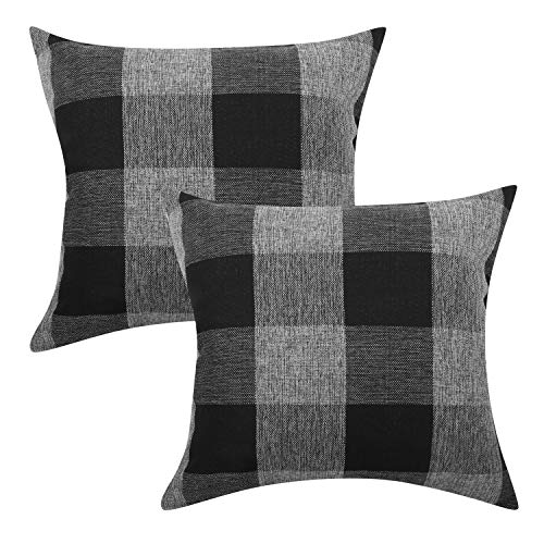 Lewondr Checkered Cushion Cover, 2 PACK Breathable Wrinkle-resistant Linen Throw Pillow Case Protector Plaid Cushion Cover Home Decor 18 x 18 Inch - Black&Gray