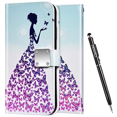 Uposao Kompatibel mit Samsung Galaxy S10 Plus Hülle Leder Handyhülle Bunt Glänzend Bling Glitzer Klapphülle Flip Case Wallet Schutzhülle Brieftasche Klapphülle Tasche Kartenfächer,Schmetterling