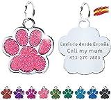 FUSIYU Placa Chapa Medalla, Etiquetas de Identificación de Mascotas Etiquetas de Perro Personalizada Grabado para Collar Perro Gato Mascota Grabada Brillantitos Acero Inoxidable, Pata Plata,Rosa