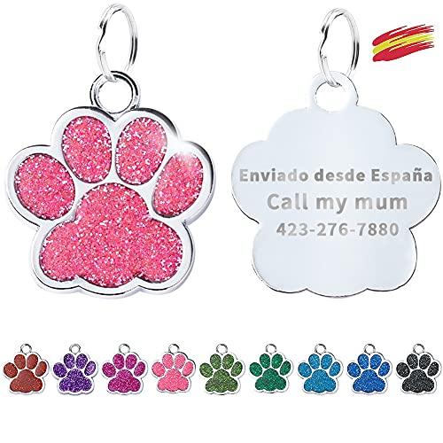 FUSIYU Placa Chapa Medalla, Etiquetas de Identificación de Mascotas Etiquetas de Perro...