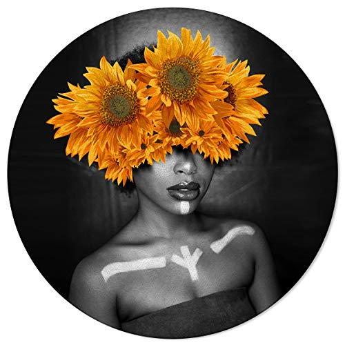 OneHoney Round Area Rugs 6ft, Black Woman with Sunflower Indoor Throw Runner Circle Rug Entryway Doormat Floor Carpet Pad Yoga Mat for Bedroom Living Room Black Art