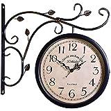 JLPCC Reloj Digital de Pared - Estación de 10 '' Reloj de Doble Cara Marco de Metal Colgante de Pared Decoración del hogar Reloj de Pared Vintage al Aire Libre