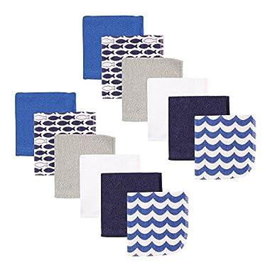Luvable Friends 12 Piece Washcloths, Blue Fishes