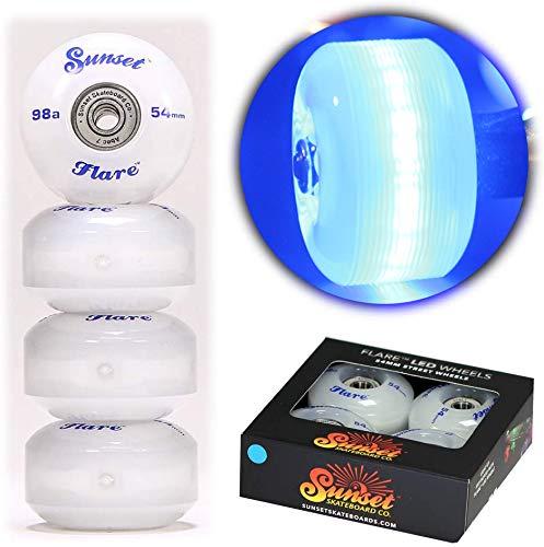 Sunset Skateboards Street Wheel mit ABEC-7 Carbon Steel Kugellager (4er-Pack), blau, 54mm/98a