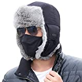 Mens Russian Navy Bomber Hat Earflap Winter Trooper Trapper 100% Real Rabbit Fur Hat for Women