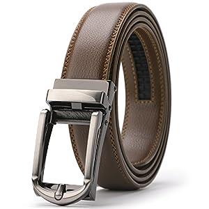 XZQTIVE ベルト メンズ コンフォート ベルト ビジネス 通勤用 オートロック式 フリーサイズ 調節可能 穴なし 大きいサイズ 紳士ベルト ギザギザベルト 高級 自動ロック式 スライド式 落ち着いた 男性用 カジュアル おしゃれ