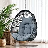 46.85 Inch Height Hanging Egg Swing Chair with Cushion and Headrest - Black Resin Wicker Rattan Single Swing Egg Porch Chair (Blue)