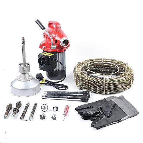 Rohrreiniger Rohrreinigungsmaschine Rohrabflussreiniger mit Spiraladapter Geeignet für Ø20-150 mm Rohrleitungen 400W Rot