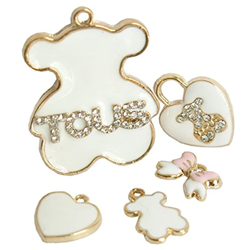 Beading Station 5-Piece Golden Tous Bear Charm Set with Clear Rhinestones